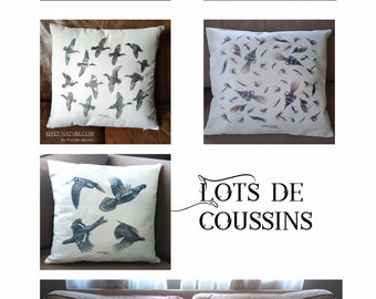 Lots of animal cushions in uncruned canvas (linen appearance) signed by the naturalist artist Walter Arlaud 40 x 40 cm with trim