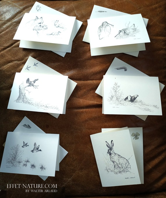 Set of 6 correspondence cards with envelopes, small animals, card, invitation, thanks, wishes, woodcock, black grouse, fox