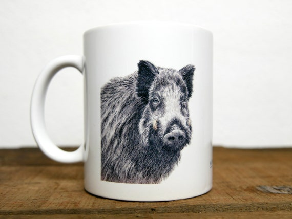 Boar mug, signed by artist Walter Arlaud, boar cup, ceramic mug, ceramic cup, hunting gift, home and decoration, tea, coffee