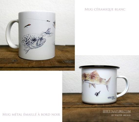 Ceramic/metal mugs Study Trout fario signed by the artist Walter Arlaud Fishing art