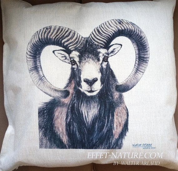 "Decorative cushion Mouflon ""Great Fauna Collection"" 40x40cm, home décor, gift, animal art, home textile"