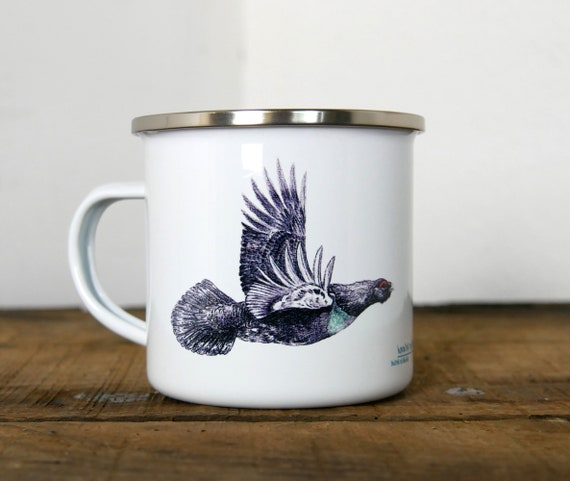 Mug metal enamelled vintage Grand grouse, signed by artist Walter Arlaud, gift, home and décor, kitchen and meals