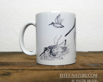 Mug ceramic white illustration color Woodcock study signed by the artist Walter Arlaud