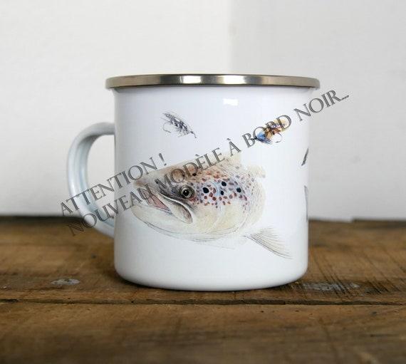 Vintage enamelled metal mug Salmon, signed by artist Walter Arlaud, vintage iron cup enamelled salmon, peach gift, fishing art