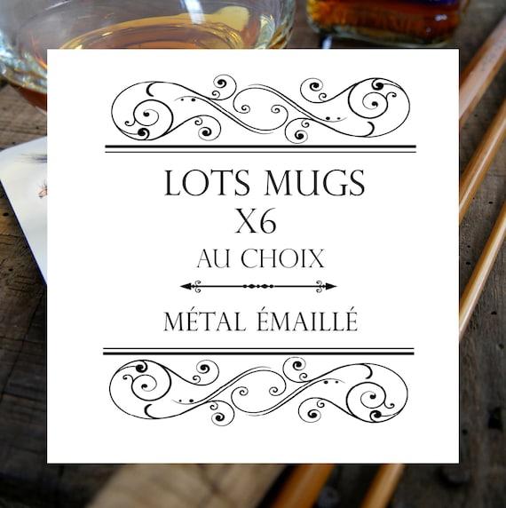 Lot de 6 mugs en métal émaillé blanc à bordures noires modèles au choix illustrations couleurs signées par l'artiste Walter Arlaud