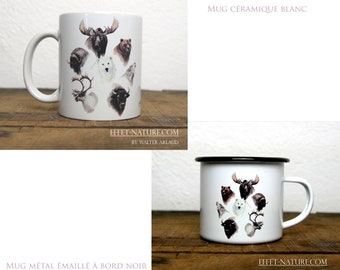 Ceramic/metal mugs Portraits large animals of the North color illustration signed by animal artist Walter Arlaud