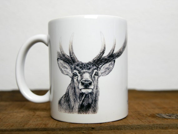 Deer mug, signed by artist Walter Arlaud, deer cup, ceramic mug, ceramic cup, hunting gift, home and decoration, tea, coffee