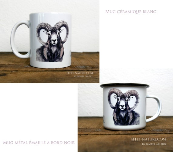 Ceramic/metal mugs Portrait in color of Mouflon signed by the artist Walter Arlaud