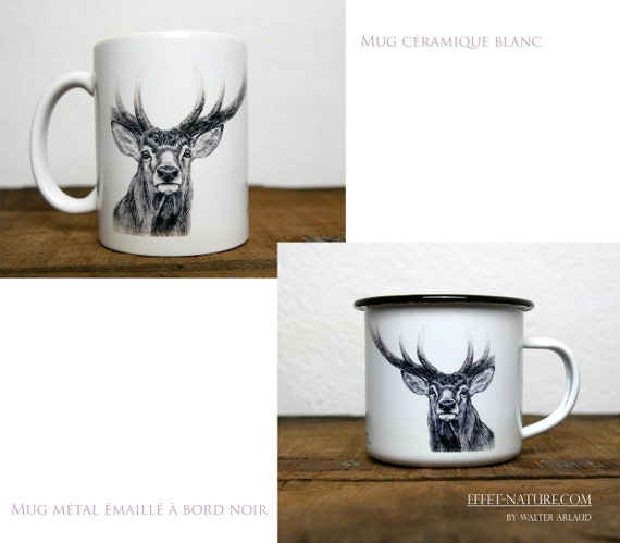 Ceramic/metal mugs Portrait deer signed by the artist Walter Arlaud color illustration