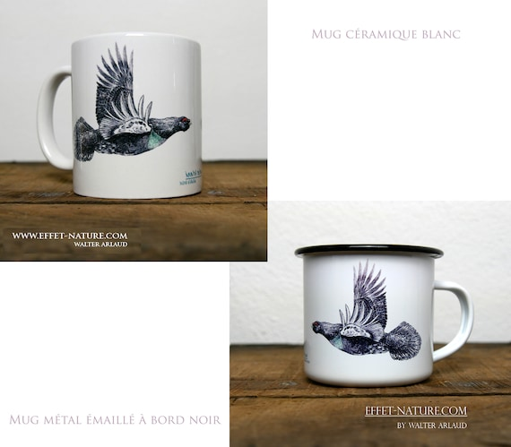 Ceramic/metal mugs color illustration Capercaillie signed by animal artist Walter Arlaud