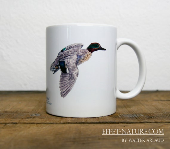 Mug Winter Teal Duck, signed by artist Walter Arlaud, cup, mug, animal art, hunting gift, decoration, tea, coffee