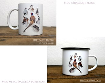Ceramic/metal mugs Animal portraits of woods and plains color illustration signed by animal artist Walter Arlaud