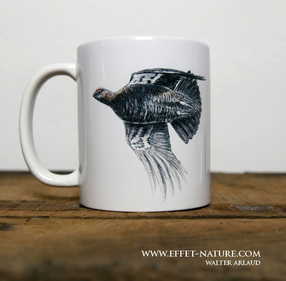 Mug Red Grouse, signed by artist Walter Arlaud, red grouse cup, ceramic mug, ceramic cup, hunting gift, home and décor, coffee