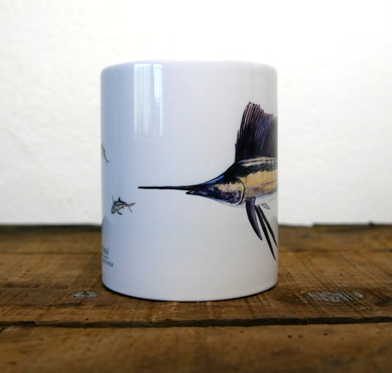 Sailing fish mug, signed by artist Walter Arlaud, sailboat fish cup, ceramic mug, ceramic cup, fishing art, home and décor