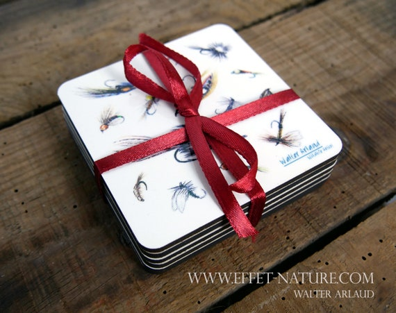 Set of 6 coasters, medium and cork, tableware, home and decoration, cooking and meals, fly fishing, fishing flies, fishing art