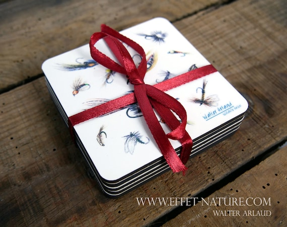 Lot of 6 coasters, medium and cork, table art, home and décor, kitchen and meals, fly fishing, fishing flies, fishing art