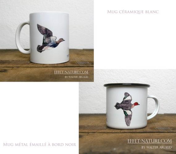 Ceramic/metal mugs illustration Ducks Whistler (male and female on the same mug) signed by animal artist Walter Arlaud