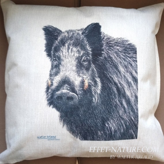 "Decorative cushion Wild boar ""collection Great fauna"" 40x40cm, home décor, gift, animal art, home textile"