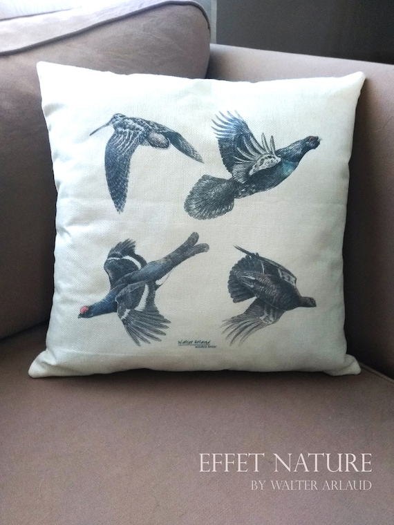 "Decorative cushion ""collection feathers"" 40x40cm, home décor, gift, animal art,"