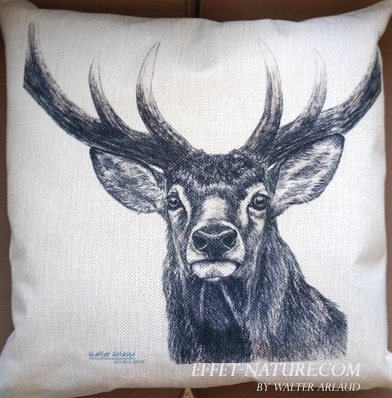 "Decorative cushion Deer ""Great Fauna Collection"" 40x40cm, home décor, gift, animal art, home textile"