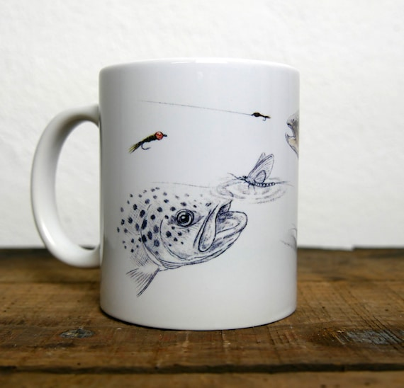 Mug Trout fario, fly fishing, signed by artist Walter Arlaud, ceramic cup, animal art, art fishing, peach gift, home decoration