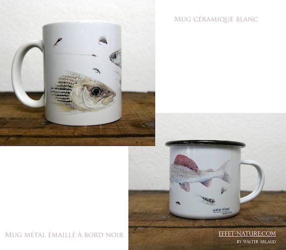 Ceramic/metal mugs illustration Common shadow signed by animal artist Walter Arlaud Fish study