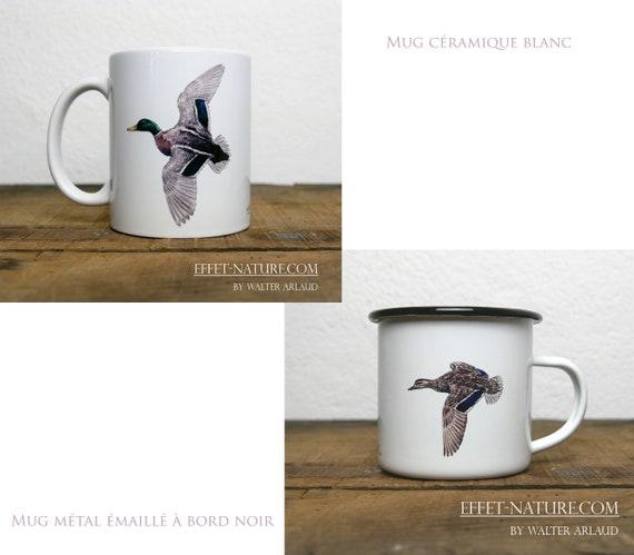 Ceramic/metal mugs illustration Mallard Ducks (male and female on the same mug), signed by animal artist Walter Arlaud