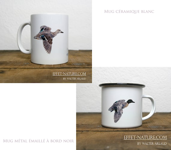 Ceramic/metal mugs illustration Duck Teal of Winter (male and female) signed by the artist Walter Arlaud