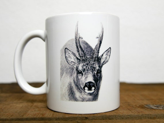 Deer mug, signed by artist Walter Arlaud, deer cup, ceramic mug, ceramic cup, hunting gift, home and décor, tea, coffee