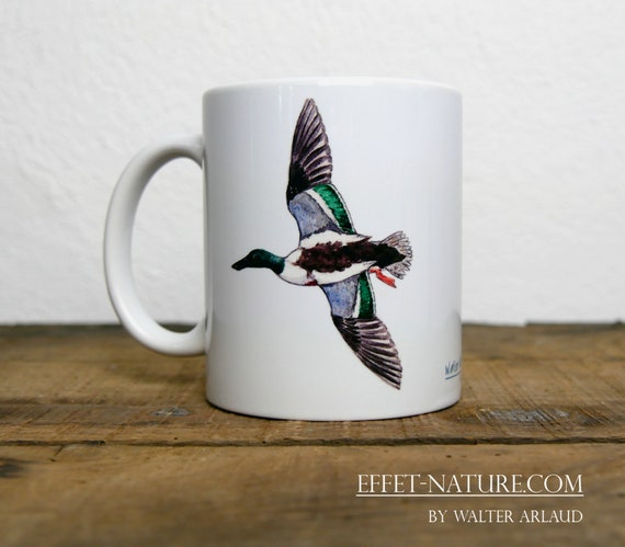 Mug Canard Souchet, signed by artist Walter Arlaud, cup, mug, animal art, hunting gift, decoration, tea, coffee
