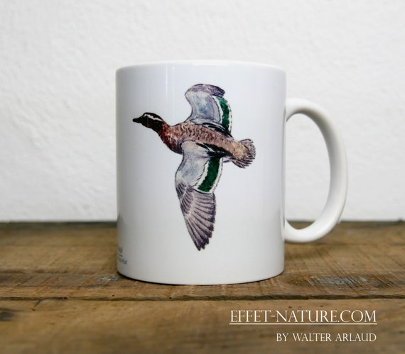Mug Summer Sarcelle Duck, signed by artist Walter Arlaud, cup, mug, animal art, hunting gift, decoration, tea, coffee