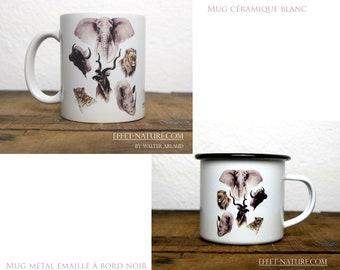 Ceramic/metal mugs Portraits large animals of Africa color illustration signed by animal artist Walter Arlaud