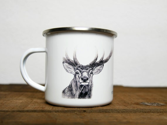 Vintage deer enamelled metal mug, signed by artist Walter Arlaud, gift, home and décor.