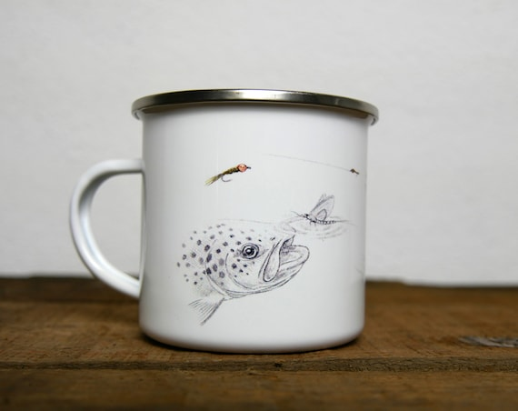 Vintage enamelled metal mug trout, signed by artist Walter Arlaud, vintage enamelled metal cup, gift, fishing art