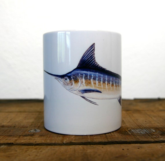 Marlin mug, signed by artist Walter Arlaud, marlin cup, ceramic mug, ceramic cup, fishing art, home and décor, tea, coffee
