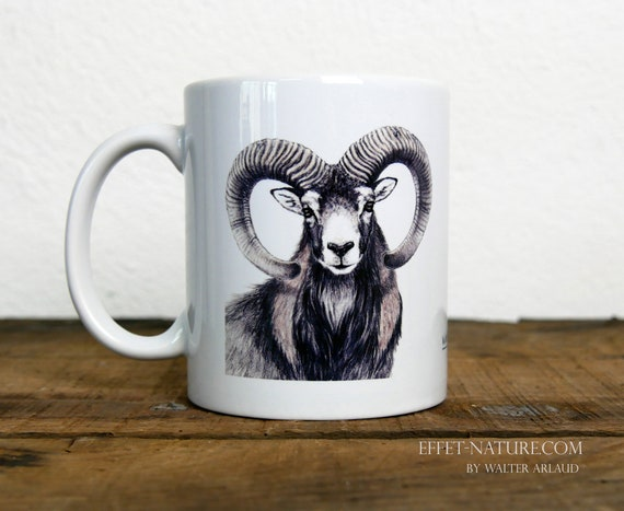 Mug mouflon, signed by artist Walter Arlaud, sheep cup, ceramic mug, ceramic cup, gift hunting, home and decoration, tea, coffee
