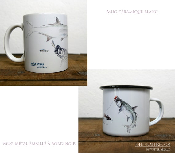 Ceramic/metal mugs illustration Tarpon fishing art signed by animal artist Walter Arlaud