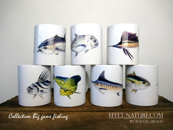 "Lot de 7 mugs Collection ""Big game fiching"" signé par l'artiste animalier Walter Arlaud, cadeau pêche, maison et déco, café, fishing art"