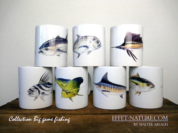 """Lot de 7 mugs Collection """"Big game fiching"""" signé par l'artiste animalier Walter Arlaud, cadeau pêche, maison et déco, café, fishing art"""