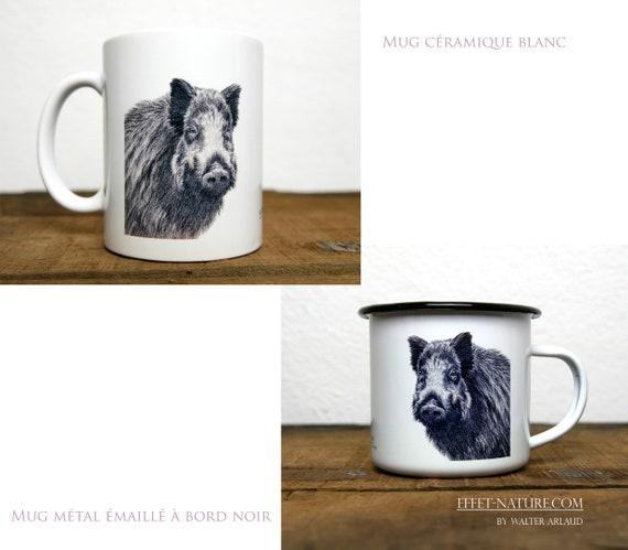 Ceramic/metal mugs Portrait Boar color illustration signed by animal artist Walter Arlaud