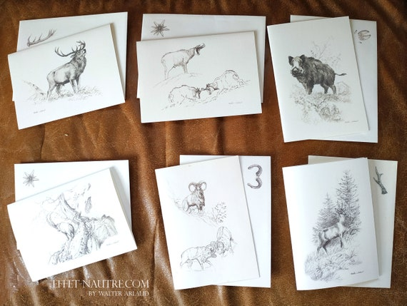 Set of 6 correspondence cards with envelopes, large animals, card, invitation, thanks, wishes, deer, roe deer, wild boar