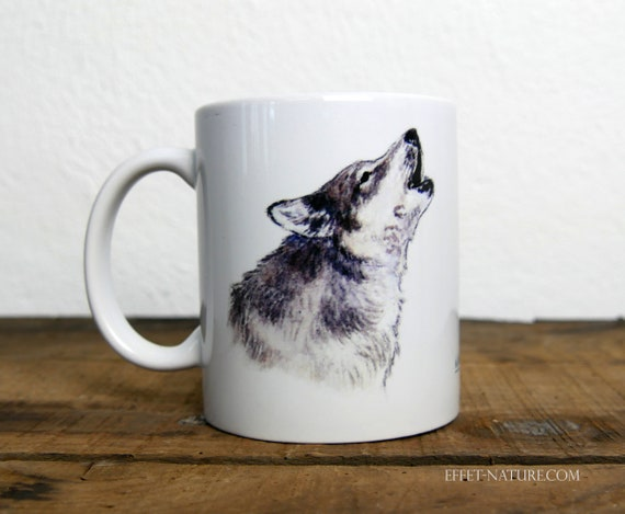 Wolf mug, signed by artist Walter Arlaud, wolf cup, ceramic mug, ceramic cup, gift, house and decoration, tea, coffee