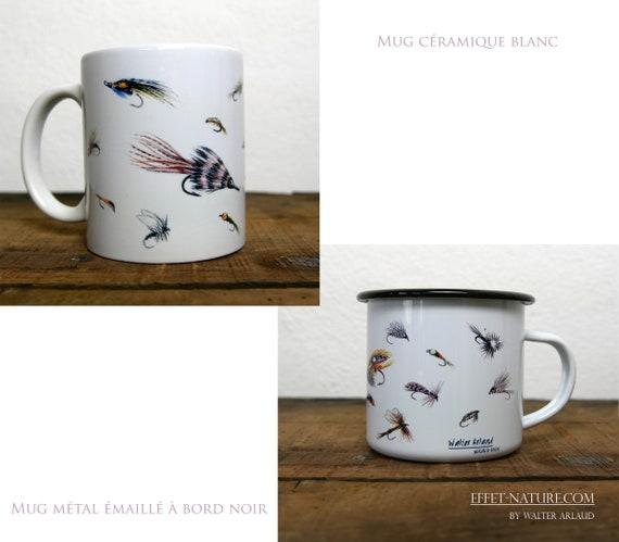 Ceramic/metal mugs Drawing Artificial fishing flies signed by animal artist Walter Arlaud