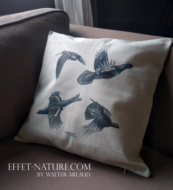 "Decorative cushion ""collection feathers"", home décor, gift, animal art,"