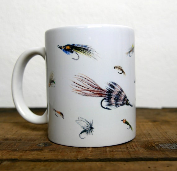Mug fishing flies, fly fishing, signed by artist Walter Arlaud, ceramic cup, animal art, art fishing, peach gift, home deco