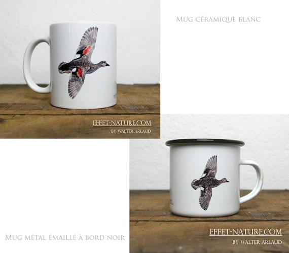 Ceramic/metal mugs illustration Duck Chipeau (male and female) signed by the artist Walter Arlaud color illustration