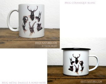 Ceramic/metal mugs Portraits large animals of Europe color illustration signed by the animal artist Walter Arlaud