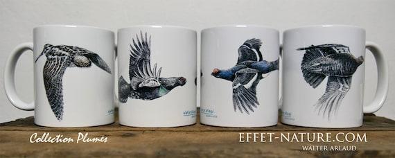 """Lot de 4 mugs Collection """"Plumes"""", signé par l'artiste animalier Walter Arlaud, cadeau , maison et déco, café, thé"""