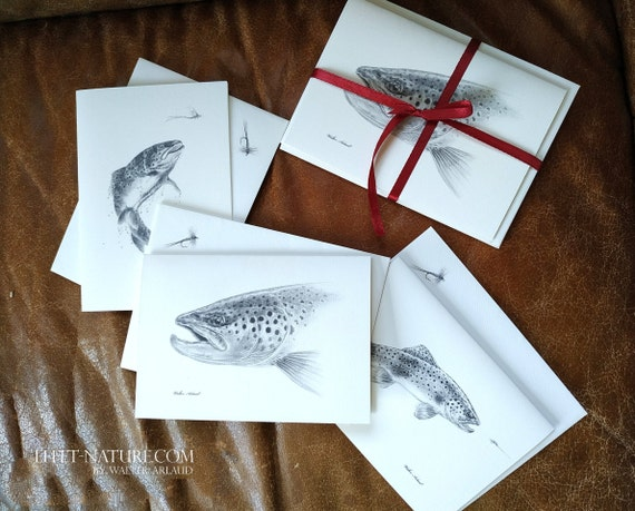 Lot of 6 correspondence cards, Fario Trout, invitations, thanks, wishes, cardery, birthday, event, fishing
