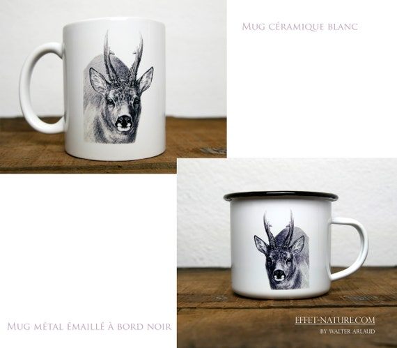 Ceramic/metal mugs Portrait deer signed by the artist Walter Arlaud